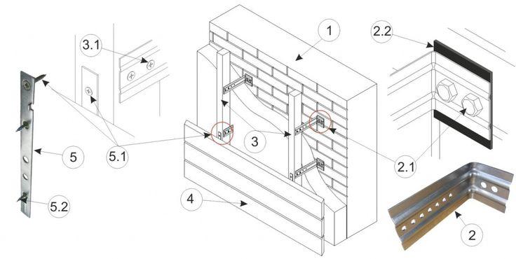 1. Несущая стена здания (поз. 1).  2. Кронштейн регулируемый ВУДРОУ (КРВ) (поз. 2) - для защиты от коррозии изготавливается из оцинкованной или нержавеющей стали или стали с порошковым покрытием. Два ребра жесткости придают необходимую прочность этой опоре. Регулировочные отверстия служат для вертикального вывешивания направляющих. Крепление кронштейна к стене производится болтами М10 х 65 (анкер М10 х 70)-(поз. 2.1).