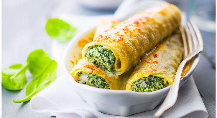 Pour changer des cannelloni à la bolo, on remplace la sauce tomate et la viande par une savoureuse farce à la ricotta et aux épinards ! Une façon de faire manger en douce des légumes verts par ...