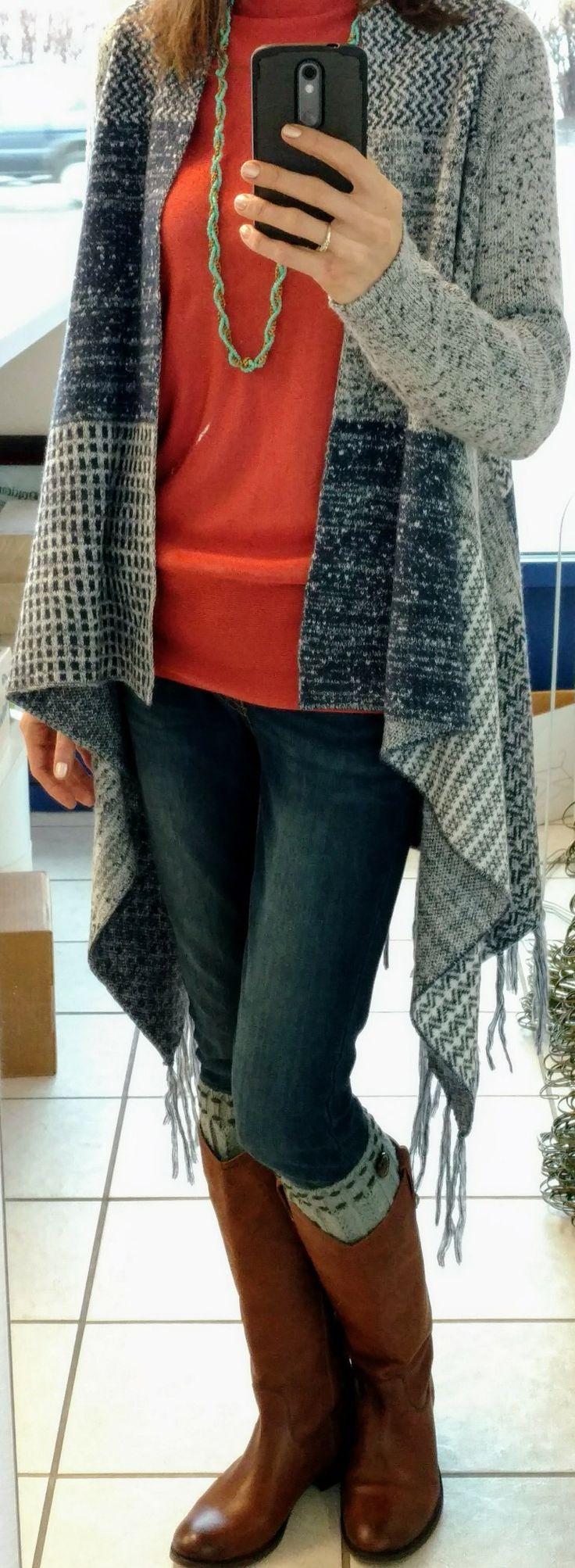 Ann Taylor shirt, Knox Rose waterfall cardigan, Levi's 535 Super Skinny jeans, Frye Melissa boots
