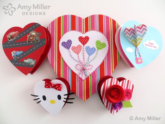 Dress up those boring Valentine's Day Chocolate Boxes into small works of art by Amy Miller Designs