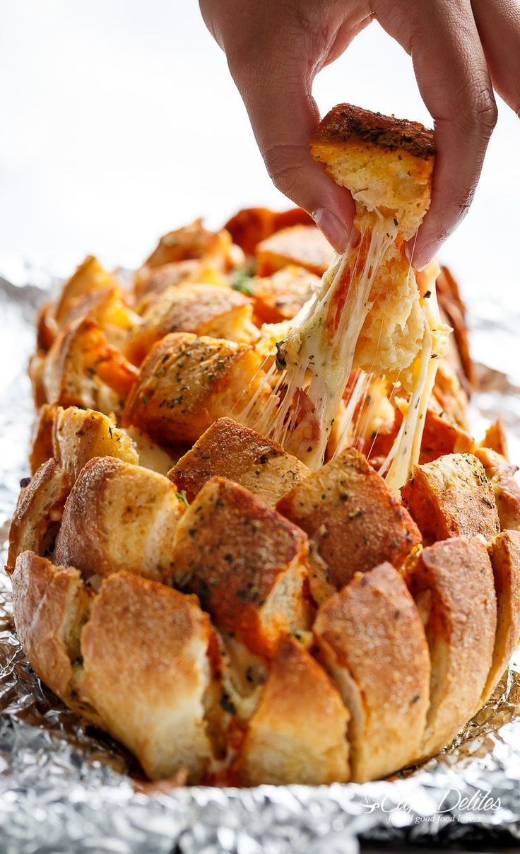 Garlic Butter Pizza Pull Apart Bread | http://cafedelites.com