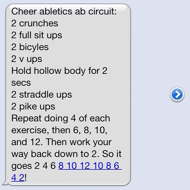 Cheer Abletics Ab Circuit -- curious if all the people pinning this know what cheer athletics is.