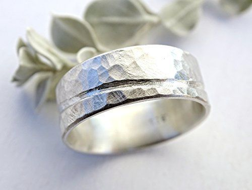 rustic wave ring silver, ocean inspired silver ring, unique wedding band men, silver wedding ring beach, hammered ring silver, cool mens ring wide