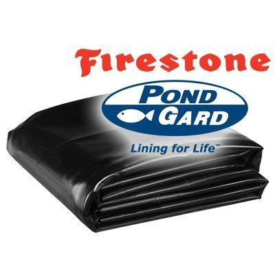 "20 x 90 Firestone 45 Mil EPDM Pond Liner by PondGard. $1692.00. SAFE for fish and plant life. 75 Year Lift Expectancy. 20 Year Limited Manufacturers Warranty. Environmentally friendly. 45 Mil (1.14 mm) (0.045"") EPDM. Pondliner is the foundation of every great pond and specially formulated for water gardens. Don't settle for anything but the best. Firestone Pondgard pond liner is fish safe, strong and durable yet pliable and will last you for many, many years. EPDM 45 mil is t..."