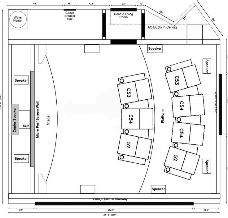 home theater room seating dimensions layout theatre design ...