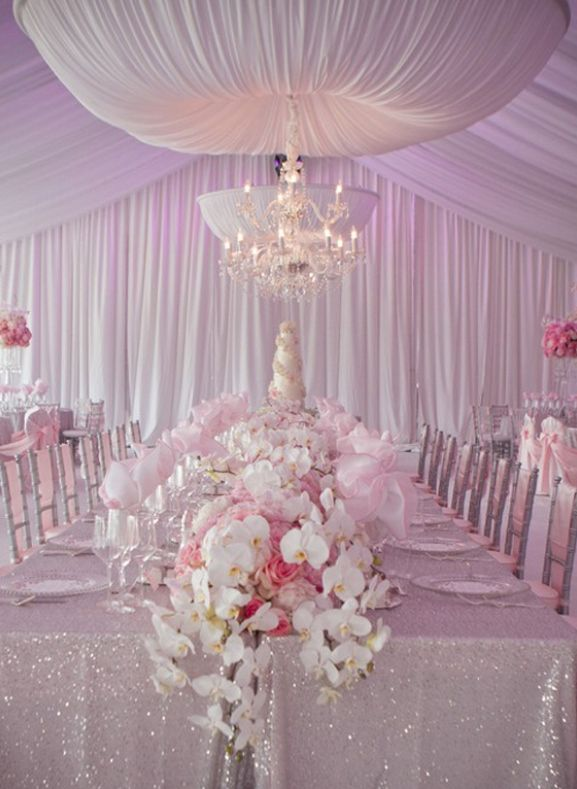 Light Pink Reception Decorations   Orchids