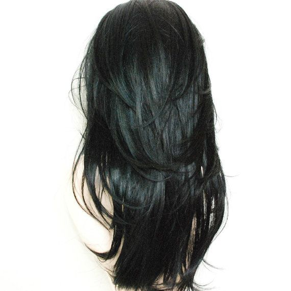 Lace front black wig / layered all over / by Stars4Ucollection