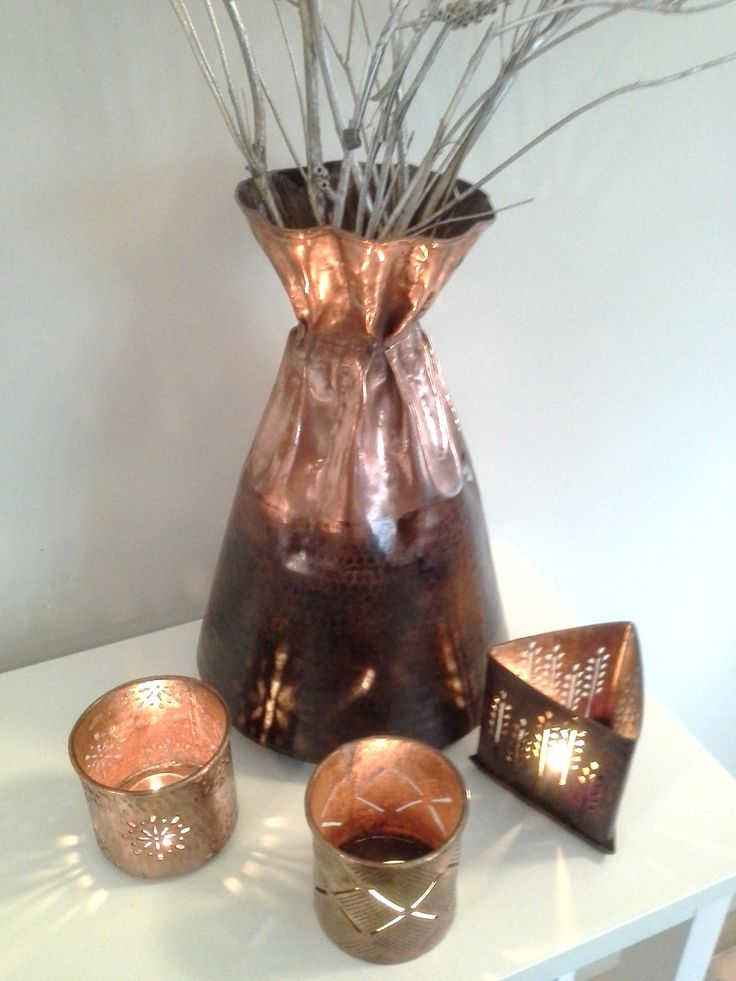 Authentic Copper Vase and T-Lights handmade by Nepali artisans. Fair Trade Guaranteed. www.issara.com.au