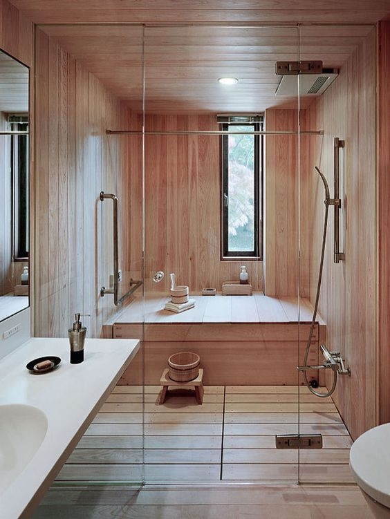 Japanese Steam Room And Shower Totally Clad With Wood Make You Feel Relaxed Japanese Bathroommodern Bathroomsmall