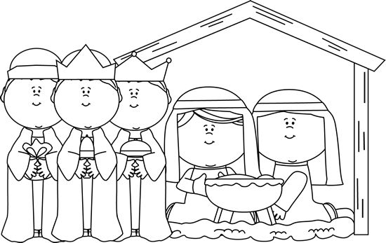 christmas nativity clipart black and white free - photo #10