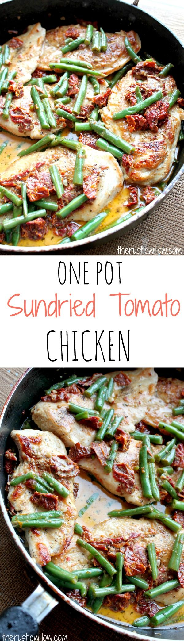Green Bean & Sundried Tomato Chicken, soaking in a scrumptious creamy sundried tomato sauce | therusticwillow.com