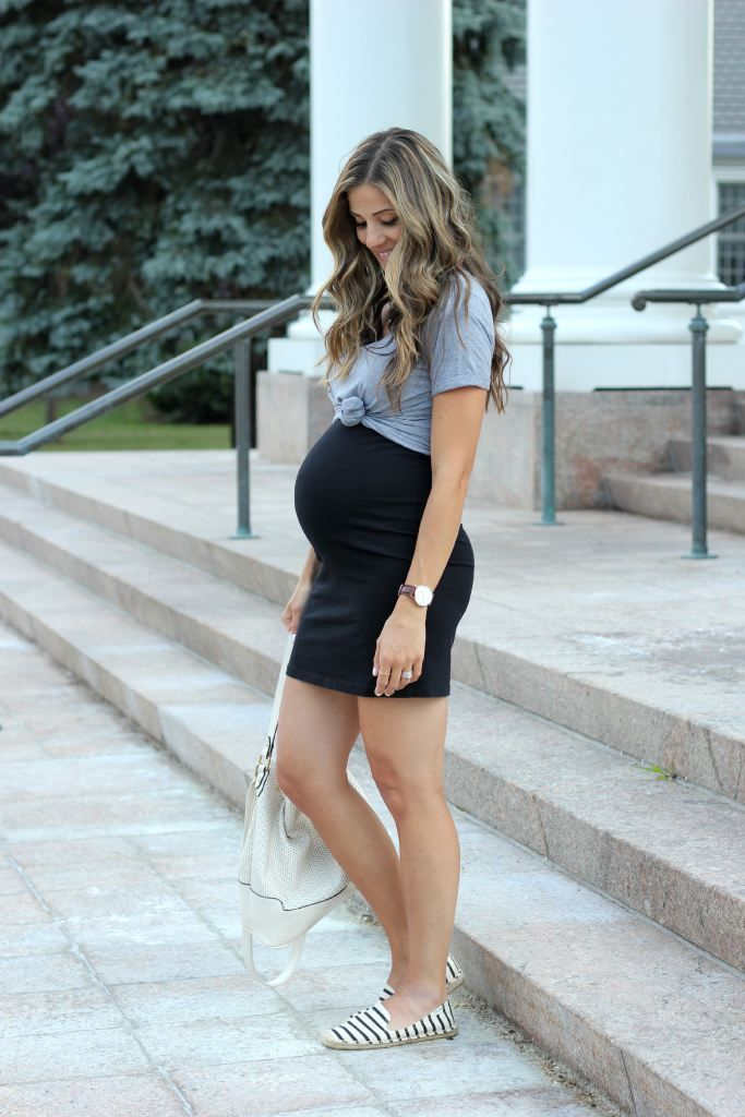 A casual little black dress with striped soludos. Maternity style