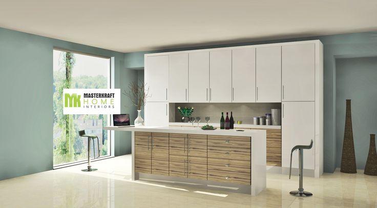 High Gloss modular kitchen design by MasterKraft Home Interiors