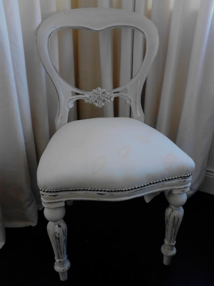 Antique White Chair Handpainted and upholstered in White Fabric