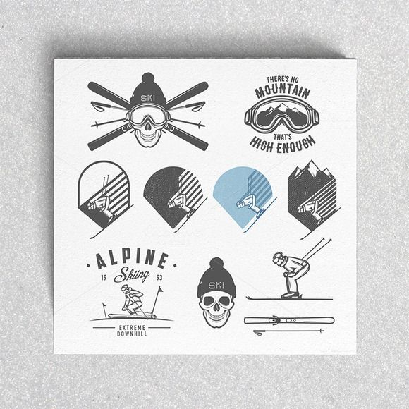 Check out Vintage alpine ski labels by 1baranov on Creative Market