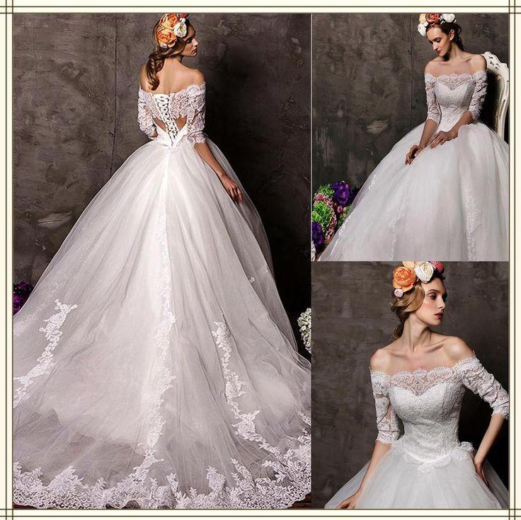 #Принцесса Бальное Платье# Свадебное Платье С Часовня Поезд Кружева Свадебные Платья Sexy Sheer Назад