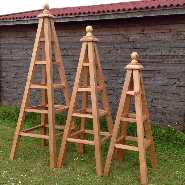 Set Of 3 Western Red Cedar Wooden Garden Obelisks Upto 8