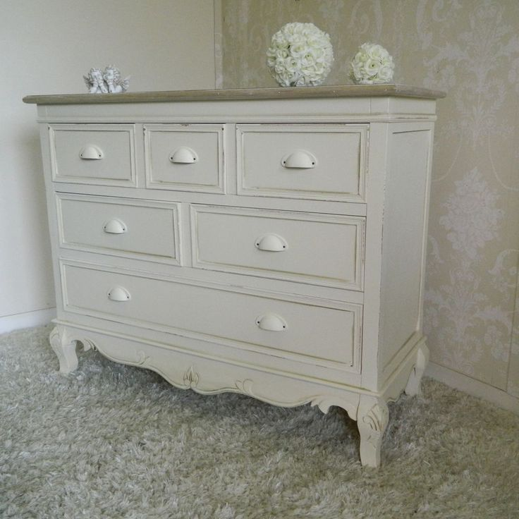 large cream chest of drawers french vintage shabby bedroom furniture chic - Bedroom Furniture Chest