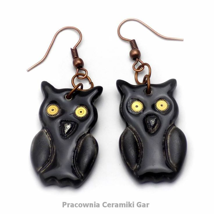 black ceramic earrings, steampunk earrings, steampunk jewerly, owls, steampunk owls, ceramic owls
