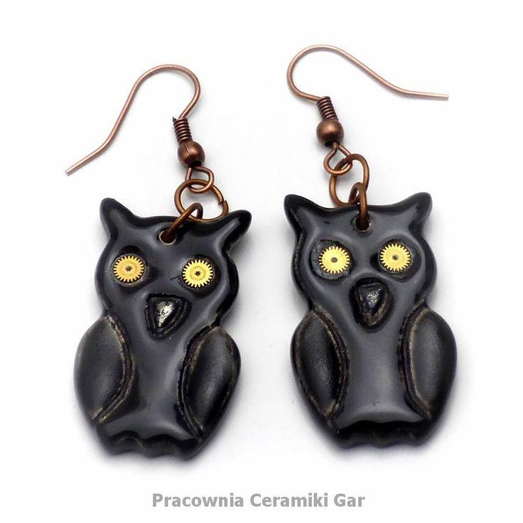 black ceramic earrings, steampunk earrings, steampunk jewerly, owls, steampunk owls, ceramic owls