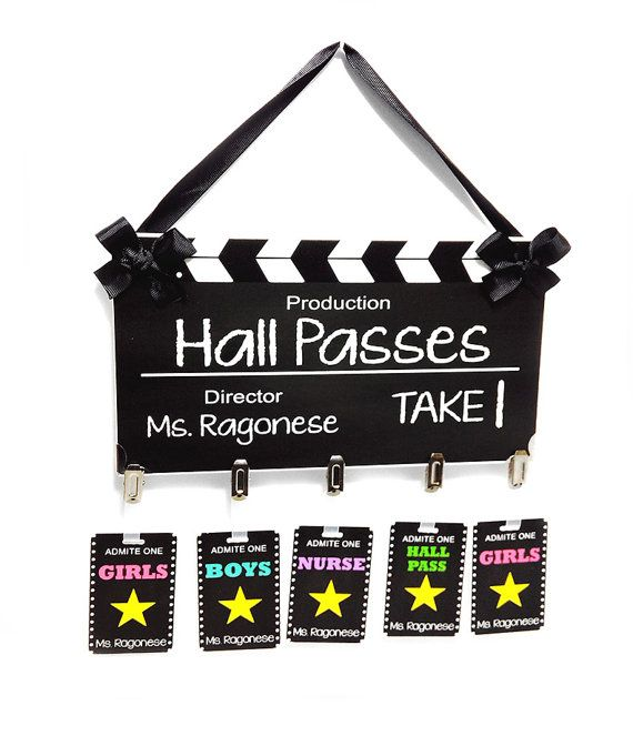 hollywood themed film take classroom hall passes sign by kasefazem