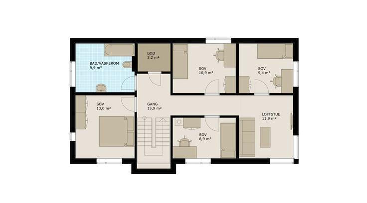 I andre etasje ligger fire soverom, bad, bod og loftstue – som for øvrig har de samme fine hjørnevinduene som stua i første etasje.
