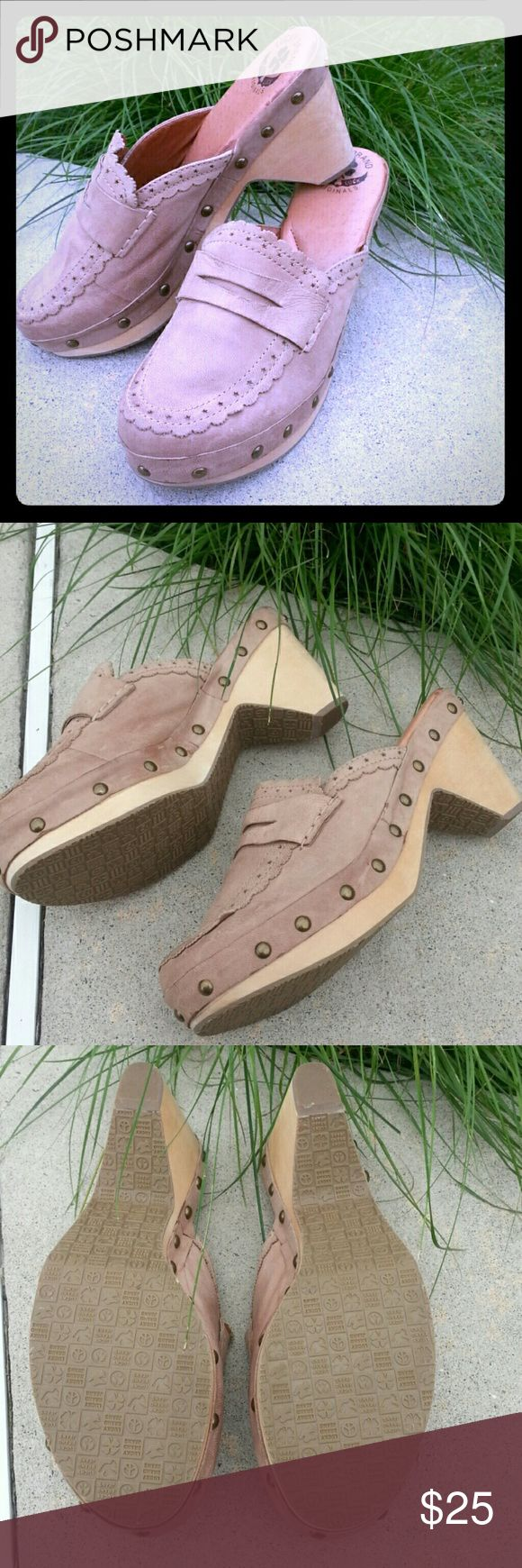 LUCKY BRAND modern clogs Leather upper, manmade sole. Bronze studs around each clog. Very SOFT footbeds. Comfy! Great used condition. Barely worn. Lucky Brand Shoes