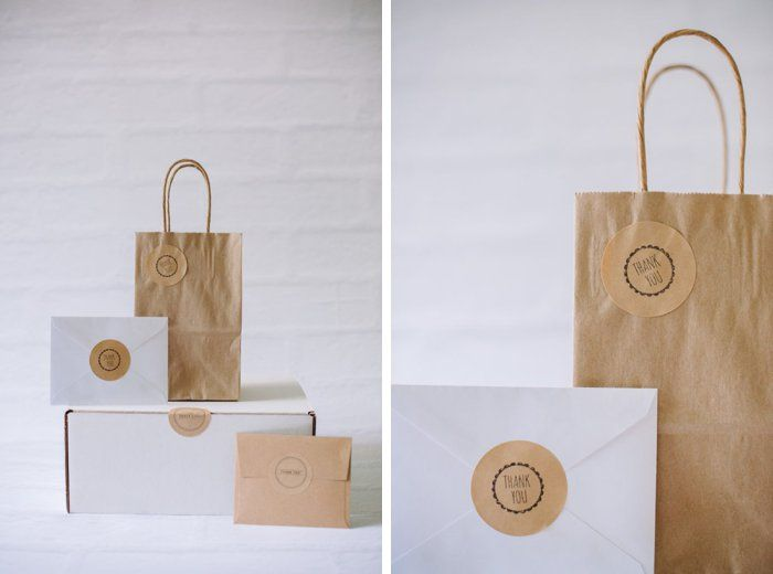 Hand stamped Kraft Paper Stickers | Address Labels, Packaging, Gift Wrap