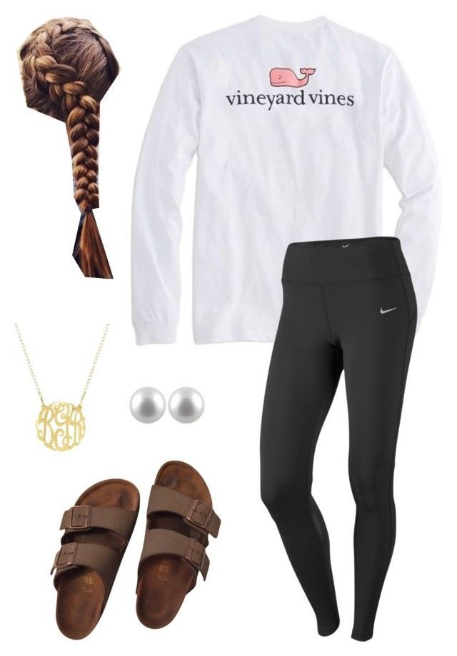 """Lazy day"" by dancetx ❤ liked on Polyvore featuring Vineyard Vines, NIKE, Birkenstock and Splendid Pearls"