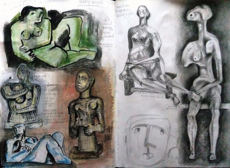 Amanda Knight - henry moore in sketchbook