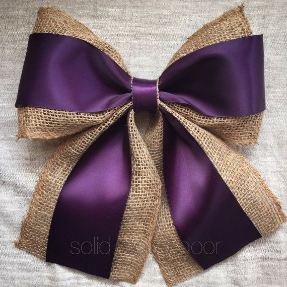 10 Burlap Satin Wreath Bow Burlap Wedding Bow by SolidWoodDoor