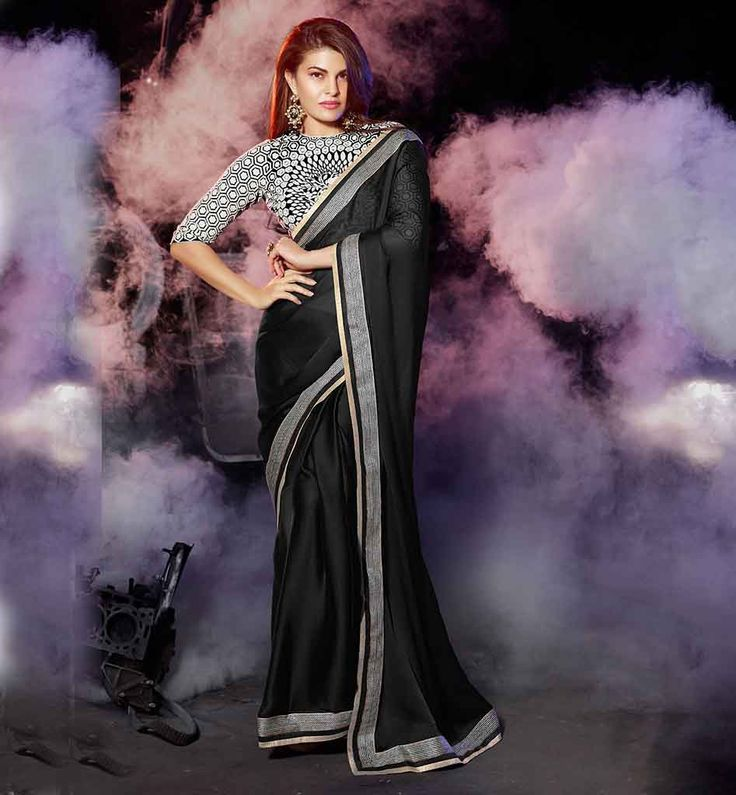 JACQUELINE FERNANDEZ BLACK GEORGETTE SAREE & STYLISH EMBROIDERED BLOUSE   SAREE BLOUSE PATTERNS FOR FASHION LOVING LADIES  OF LATEST SAREE TRENDS 2015