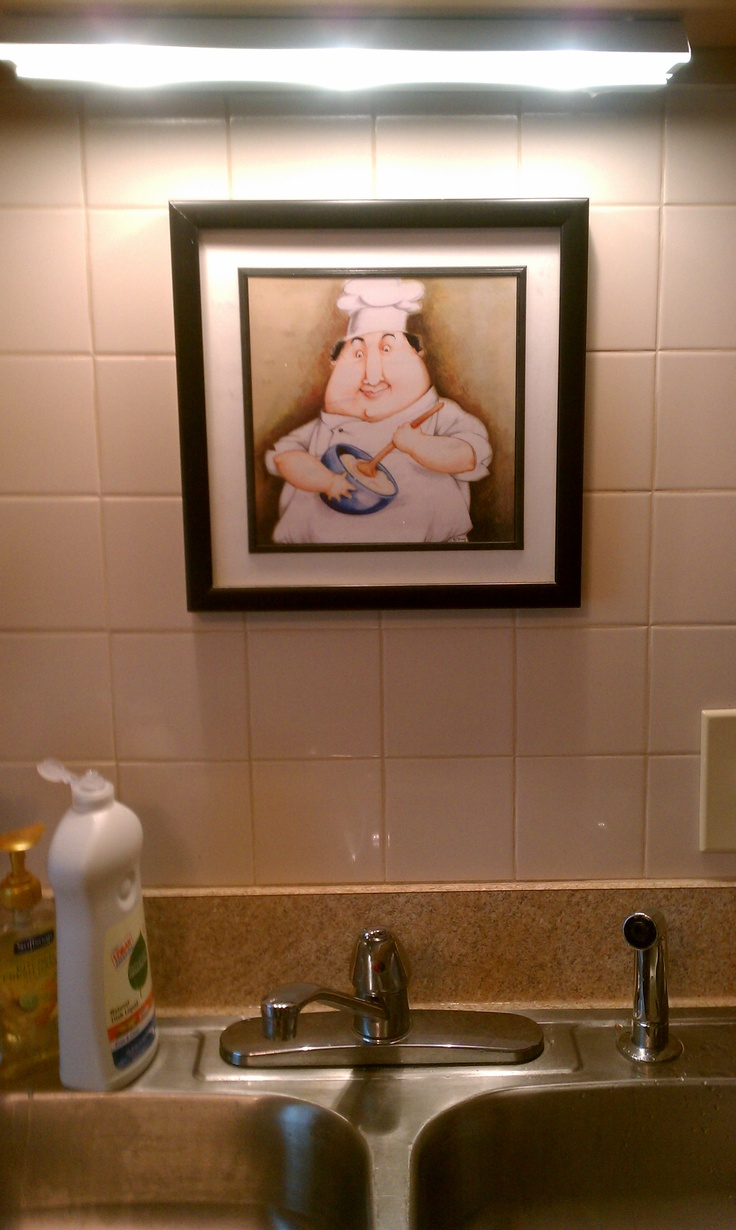 use command strips to hang pictures on the tile backsplash above the kitchen sink cleaver. Black Bedroom Furniture Sets. Home Design Ideas