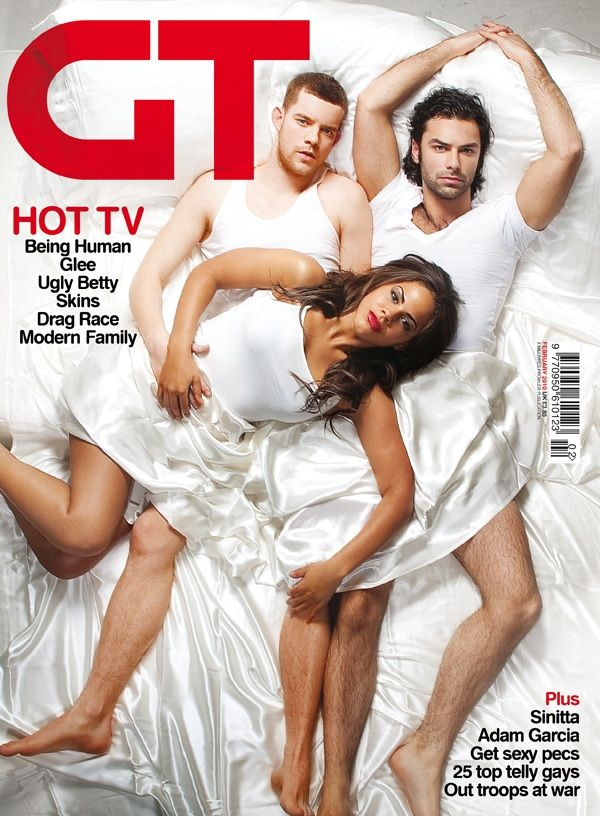 being human gay times front cover-love this image of the cast! George the werewolf (Russell Tovey), Annie the ghost (Lenora Crichlow) and Mitchell the vampire (Aidan Turner)
