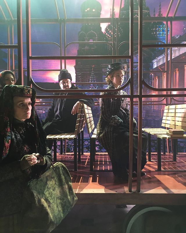 In rehearsal after the first preview. Cast members @mollyisrushing @shinamorris #kevinligon @janetdickinson sit on the train to Paris listening to our fearless leader #DarkoTresnjak #MaxandJB3Takeover #fanastasias #anastasiamusical @maxmclayton @jamesbrowniii