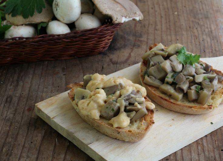 Bruschette+con+funghi+e+fonduta+di+formaggi+al+tartufo
