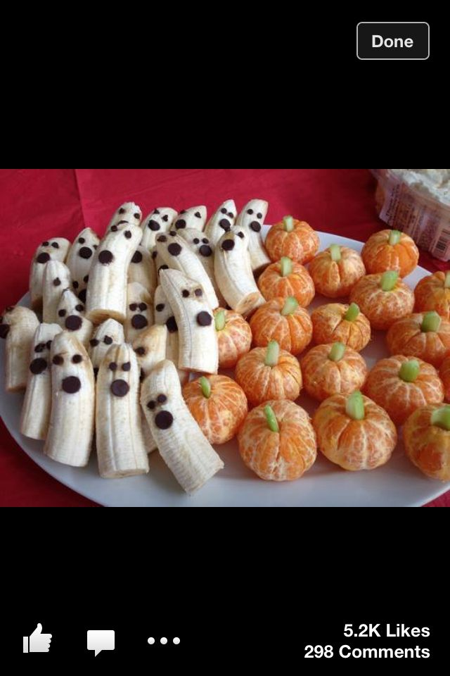 Banana Ghosts and Tangerine Pumpkins.. Very cute for a kid friendly Halloween party
