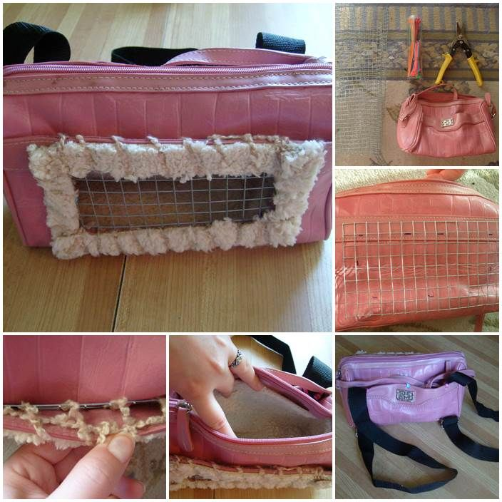 DIY Recycled Small Pet Carrier Backpack - try this with old backpack for Fievel!