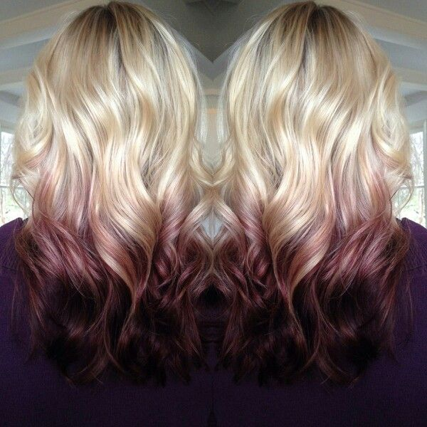 Reverse blonde and plum ombre. Almost like my hair.
