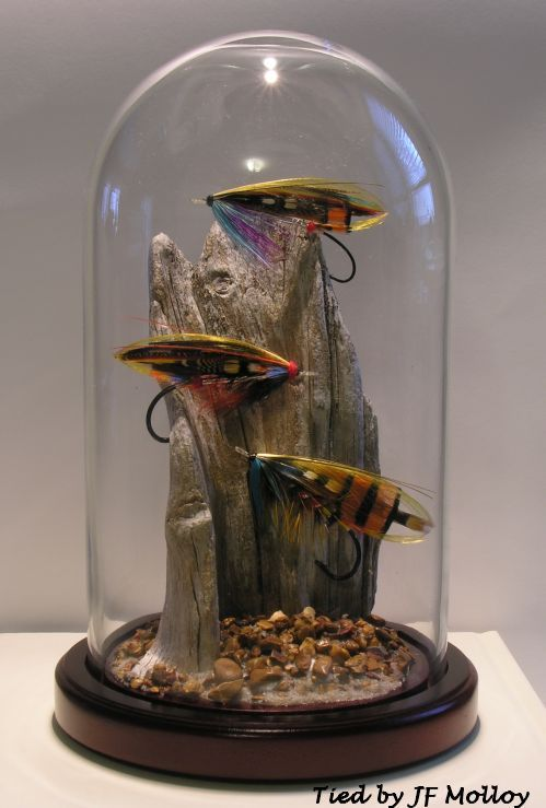 Bell Jar Salmon Flies....great way to display favorite flies. Maybe those passed down from grampa.