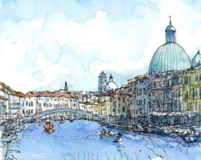 Italien Venedig Scalzi Brücke Kunstdruck aus original Aquarell
