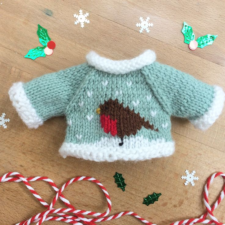 I know it's only September but I'm working on Christmas presents! This is a mini Christmas jumper for a toy rabbit. #littlecottonrabbits #robinjumper #knitting #knittersofinstagram #knittersgonnaknit #christmasjumper