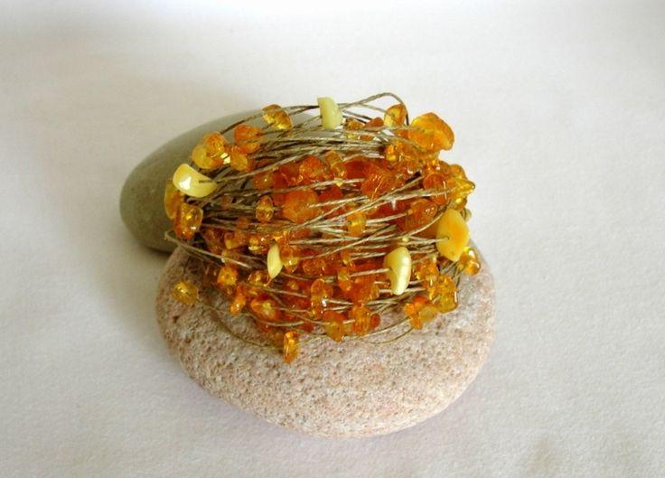 AMBER bracelet, natural linen from Jewelry&Hand Made by DaWanda.com