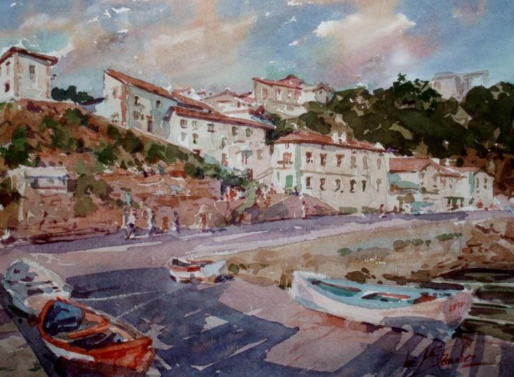 The Old Port, Getxo,Basque Country, watercolour by Jose Mª Sanchez, Granada, Spain