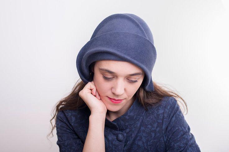 Hüte - Blauen Hut fühlte Kapotthut Vintage-Stil Frauen - ein Designerstück von TUTUHandmadeHats bei DaWanda