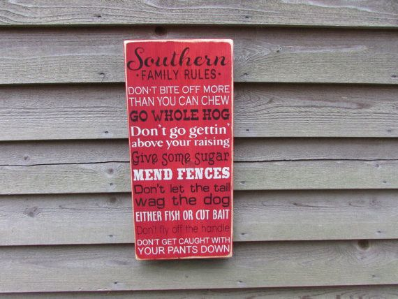primitive rustic sign, family rules, southern family rules , funny sign, primitive home decor, by Mockingbird Primitive