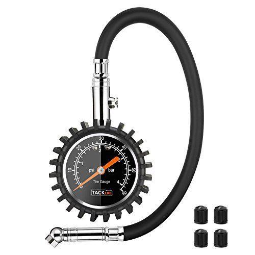 Tacklife TPS02L Classique Manomètre /Jauge de Pression des Pneus avec Reinforced Rubber Hose Pour Voiture, Moto, Vélo, Camion, RV, SUV, ATV…