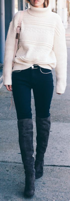 Jess Ann Kirby + spring + blush pink cable knit rollneck + skinny denim jeans + over the knee boots Knit: Reiss, Jeans: Paige Denim, Boots: L.K. Bennett.