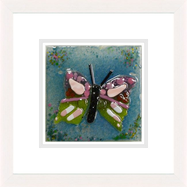 'Butterfly On White' by Natasha McCullough. This piece has been hand crafted, fused & framed by Spires Art in Omagh. Available in size 12in X 12in.