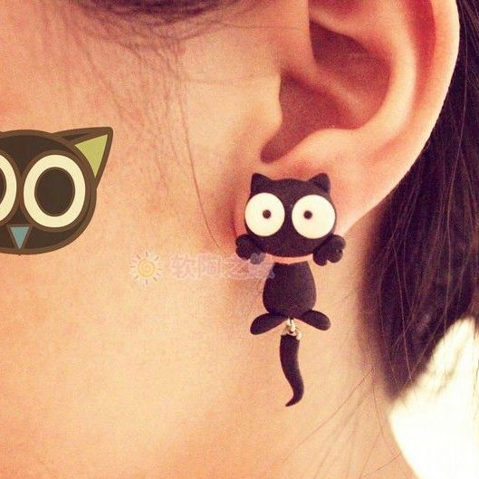Handmade Fimo  Free Shipping Earring  Cartoon Cat Animal Flowers 925 Silver Stud Earring For Girls Polymer Clay Soil  accessorie